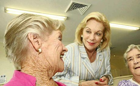 INFLUENTIAL WOMAN: Ita Buttrose (centre) at Crowley in Ballina on Tuesday with residents Gloria Donaldson (left) and Joan Leach for a Seniors Week event.
