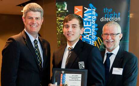 PROMISING FUTURE: Moura teen Jared Semple was presented a $2000 QMEA scholarship from Minister for Employment, Skills and Mining Stirling Hinchliffe and Queensland Resources Council Chief Executive Micheal Roche last week.