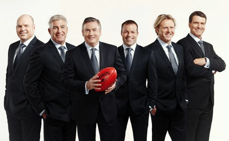 The Fox Footy channel's commentary team, from left, Jason Dunstall, Gerard Healy, Eddie McGuire, Brad Johnson, Dermott Brereton and Paul Roos.