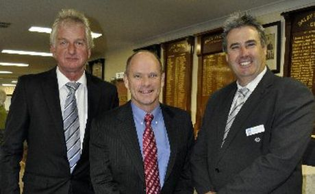 HAPPIER TIMES: Member for Condamine Ray Hopper (left) and LNP leader Campbell Newman seen here with Western Downs Regional Council mayor Ray Brown.