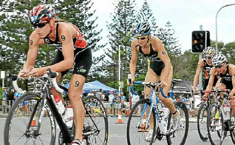 Nicola Spirig, Erin Densham and Andrea Hewitt battle it out on the bikes.