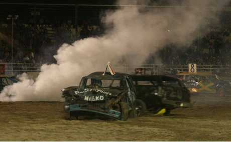 Action in the demolition derby.