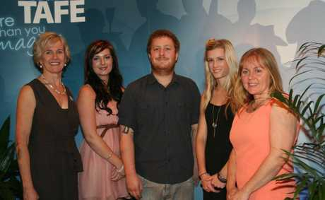 Director of North Coast TAFE , Elizabeth McGregor with graduates (from left) Elora Ayoub, Joel Crawford, Emma Fitzgerald and Julie Barber.