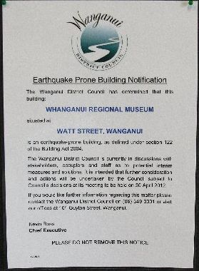 NOTICE: One of the information notices that have gone up in Wanganui's earthquake prone buildings.PHOTO/BEVAN CONLEY