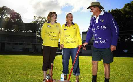 TAKE YOUR MARKS: Grafton Relay for Life organisers (from left) chair Rosemary Munro, Debbie Brookes and Graeme Hicks prepare McKittrick Park for tomorrow's big event. Photo: JoJo Newby