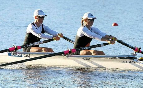 Bronwen Watson and Hannah Every-Hall row together as part of the rotation of Olympic hopefuls at the selection trials in Sydney.