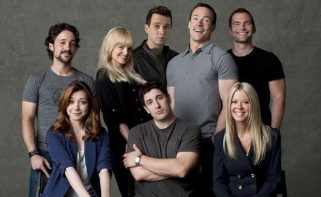 The cast of the movie American Reunion, back row from left, Thomas Ian Nicholas, Mena Suvari, Eddie Kaye Thomas, Chris Klein and Seann William Scott. Front row from left, Alyson Hannigan, Jason Biggs and Tara Reid.