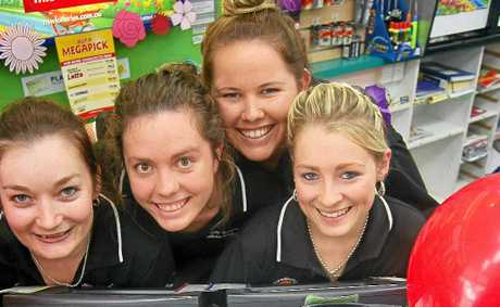 Murwillumbah Newsagent's staff members Sarah Tunsted, Ruby MacDonald, Bec Mongan and Madeline Edwards.