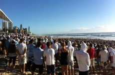 A huge turnout at the Matthew Barclay Memorial at Kurrawa Beach.