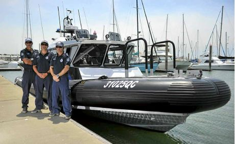 BOATIES BEWARE: Gladstone Water Police Sergeant Jeff Bernett, Constable Matt Habermann and Constable John Kernan.