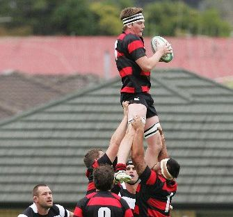 HIGH RISE: Hikurangi lock Matthew Stanbridge masters the set piece during their premier rugby clash against Kamo.