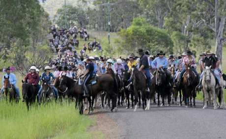 Participants in this year's Kilkivan Great Horse Ride assemble on the trail. The event returned this year after floods and Hendra virus forced its cancellation last year.