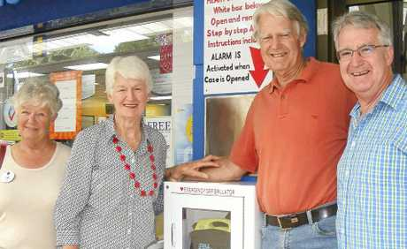 LIFESAVER: At last week's installation of a public-access defibrillator at Alstonville Plaza, (from left) Alstonville Red Cross treasurer Ann Tierney, and family of the late Freda Noble, Glenva Blok, Warren Noble and John Noble.