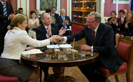 IN POWER: Member for Callide Jeff Seeney is sworn into Parliament