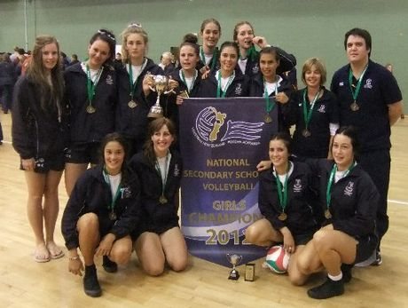 Tauranga Girls&#39; College&#39;s victorious Senior A volleyball team.