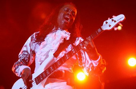 HOT STUFF: Earth, Wind & Fire's Verdine White during the group's performance at Tauranga Domain last night.