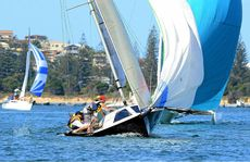 Coffs Harbour boat Speed 23, Maniac jibes on course while competing in the 20th Annual Port of Yamba Yacht Club's Easter Regatta on the Clarence River at Yamba yesterday.