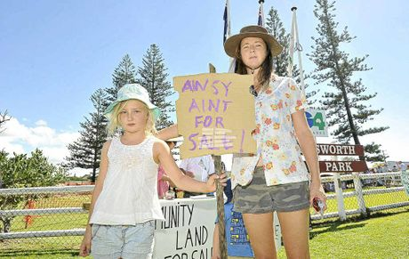 Lennox Head residents protesting the sale of council land close to Lake Ainsworth were Mia Shearer, 8 and Michelle Shearer, both of Lennox Head.
