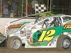 QUEENSLAND driver Kevin Britten led from start to finish to win the New South Wales V8 Dirt Modified Championship at Lucas Oil Lismore Speedway on Sunday night.