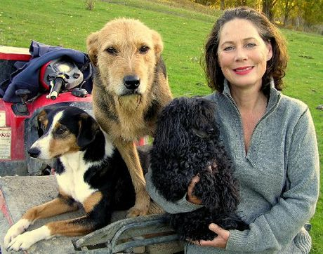 HAPPY FAMILY: Anna Holland with her poodle, Fifi, and farm dogs Hope and Chloe.