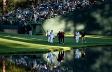 Tiger Woods on the 16th hole at Augusta National.