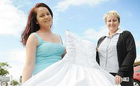 Olivia Harney with her mum's wedding dress and above Leigh Harney wears the dress.