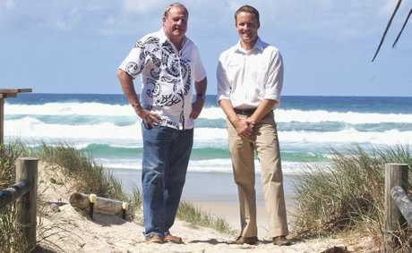 Beachbreak developer Tony McGinty and onsite representative Luke Staunton take in the salty air at Casuarina.