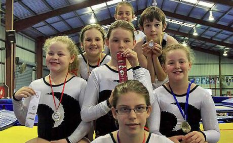 Emerald medal winners at the Victoria Park Invitational gymnastics competition.