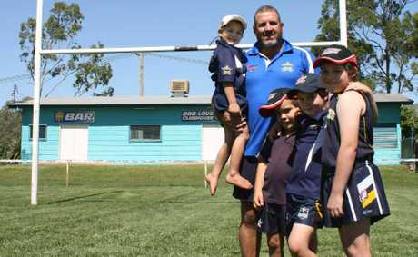 Emerald Cowboys vice president James Verzeletti and family, ahead of tomorrow night's kick-off in round one of the Central Highlands Rugby League.