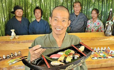 PROMOTING HEALTH: Dicky Beach's Yume Japanese Restaurant owner Genta Tsukimori, with staff members, from left, Ryu, Naoki, Shiro and Maiko.