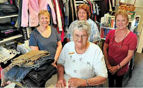 Endeavour volunteer of 27 years Joyce Cunningham (front) with Endeavour manager Sam Eldridge (left), Lyn Tegon and Dee Cheers looking forward to the Cooroy shop reopening.