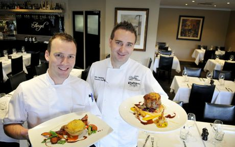 The Angel head chef (left) Ryan McMcBurney and owner Rick Osborne are offering up two special dishes for the next month, with half of all proceeds from the sale of them to go towards the Matthew Golinski Recovery Fund. Photo Dave Noonan.