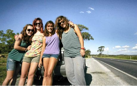 Backpackers Grainne Sweeney, Laura Cullen, Carmel Pack and Anne Green travelled from Airlie Beach to 1770, mostly along the Bruce Hwy and said delays weren't long up to Marmor.