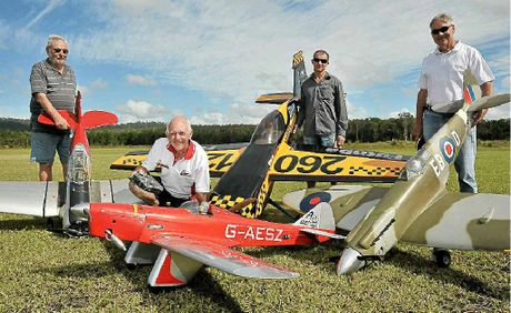 Suncoast Model Flyers members Bryan Cooper, Roy Salmon, Byron Webb and Roy Dixon.
