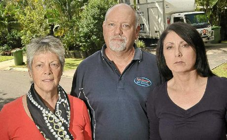 Palmwoods residents Heather Jack and David and Julie Mallett say there are inaccuracies in the council's flood risk search.