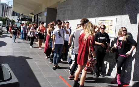 Housemate hopefuls queue outside the Sebel in Brisbane for the Big Brother auditions.