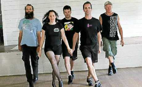 Kicking Irish dance into Australia via Bexhill Hall are (l-r) Scott Clark of Lismore, Karen Simpson-Clark of Cape Byron Celtic Dance Company, Will Chapman of Mortlake, Victoria, Shawn Silver from Newfoundland, Canada, and Ken Bright of Mullumbimby.