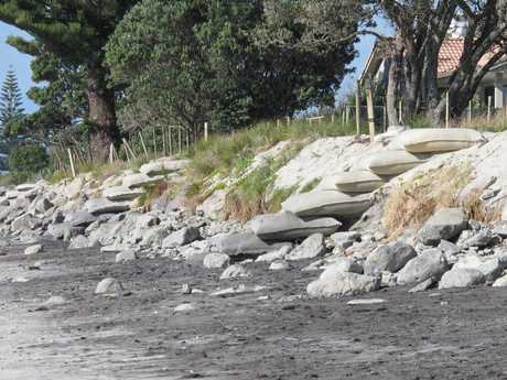 Recent erosion of sand dunes on Waihi Beach means residential properties could be at risk if the present rate continues.