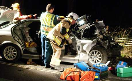 A BMW sedan and a dual cab utility collided in Cabarlah last night.