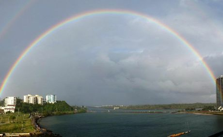 A glorious rainbow stretches across Jack Evans Boat Harbour, as captured by Twin Towns sound engineer and resident photographer Craig Worsley.