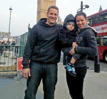 Ryan and Keri Topperwien with their 3-year-old son Chace in London where he is undergoing a drug trial.