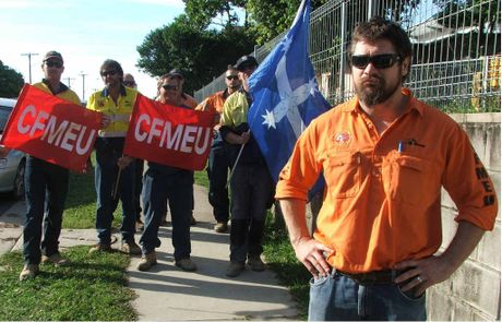 CFMEU assistant state secretary Jade Ingham with CFMEU and BLF delegates and members outside the Mackay Base Hospital where all construction workers decided to strike.
