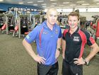Newcastle Knights strength and conditioning coach David Ballard with Fit College Hervey Bay fitness trainer and assessor Peter Winmill.