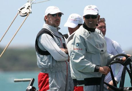 American billionaire Larry Ellison and Russell Coutts on BMW Oracle Racing's America's Cup yacht. PHOTO/FILE