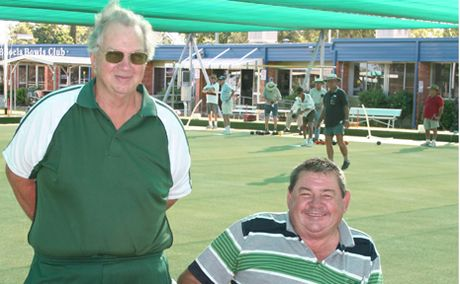 ROLL UP: Biloela Bowls Club secretary Roy Gourley and games director Geoff Geall are happy with preparations for this weekend's Amalgamated Mixed Fours tournament.