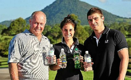 Cooroy businessman Peter Lavin (left) with Caitlin and Remi bails out Cooroy Mountain Spring Water.