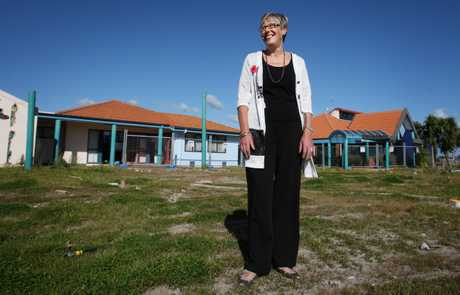 Tahatai Coast School principal Jenny Griggs in front of the space where a new 18-classroom building will be built.