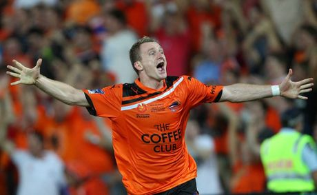 Besart Berisha of the Roar celebrates after scoring his second goal during the 2012 A-League Grand Final match between the Brisbane Roar and the Perth Glory at Suncorp Stadium on April 22, 2012 in Brisbane, Australia.