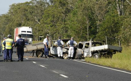 Police and emergency service personnel at the scene of the accident.
