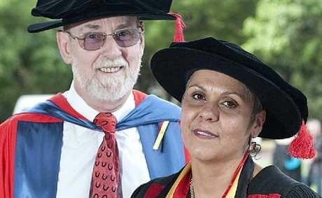Professor of mental health Don Gorman with Odette Best, the university's first indigenous graduate of a nursing PhD.